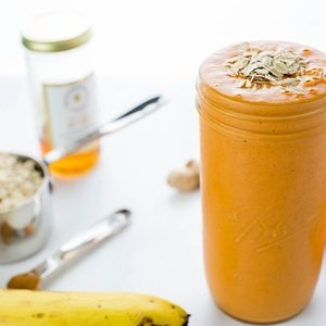 Orange smoothie named Carrot Cake